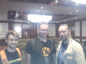 Left to right: Antoni Strzalkowski (Cyberpunk2077), Jan Wagner (Shadowrun Online) and James Swallow (Deus Ex:Human Revolution)