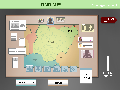 "Find Me… An image from ""A satirical search and rescue game inspired by the media reaction to the Nigerian schoolgirl kidnap story. An FBI agent tries to keep media interest in the story alive to buy extra time to find the girls."""